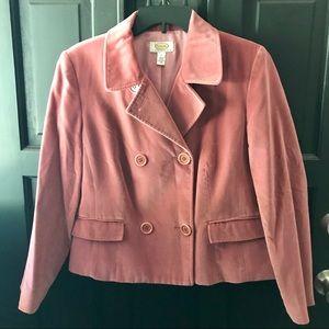 Talbots Petites rose pink velvet jacket